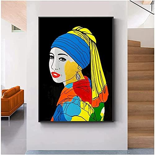 XMYC Poster Artwork Ragazza Astratta con Un orecchino di Perla Pittura a Olio Graffiti Colorati Poster Picture Living Room Decor70x90cm Senza Cornice
