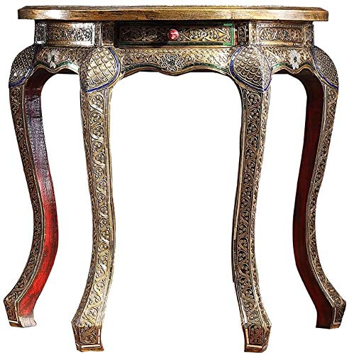 Simple and Creative Decoration Furniture Thai Solid Wood Decal Console Table with Drawer Southeast Asian Side Table Simple and Creative Decoration Handcarved Sofa Table, Y-Z, Silver, 40x80x80cm