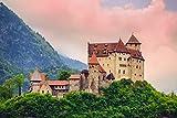 lunaprint Liechtenstein Castle Under The Pink Clouds