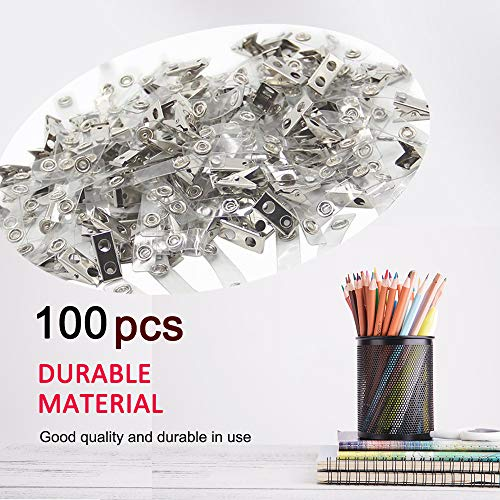 Muka 100PCS Clear ID Badge Clips with Vinyl Straps, Plastic Strap Clips for ID Name Tags Photo #5