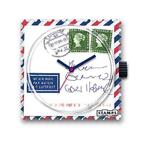 S.T.A.M.P.S. Stamps Uhr KOMPLETT - Zifferblatt Airmail for You mit Lederarmband Classic rot