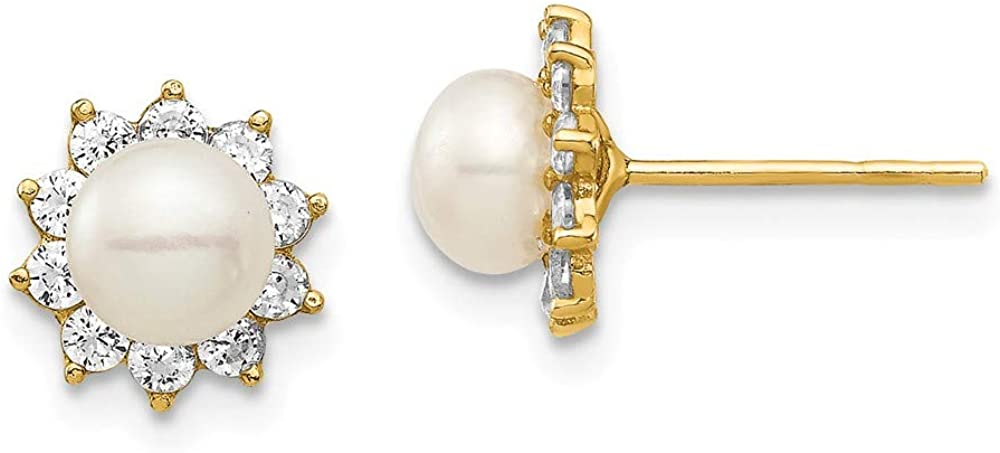 14k Yellow Gold 6mm White Button Freshwater Cultured Pearl Cubic Zirconia Cz Post Stud Earrings Ball Fine Jewelry For Women Gifts For Her