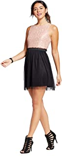 Speechless Lots of Love Juniors' Floral Lace Overlay Skater Dress