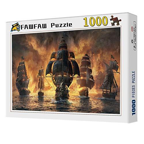 FAWFAW Puzzle Personalizado, 1000 Piezas, Batalla Naval De Veleros, Adultos Niños Puzzles Juegos De Juguete
