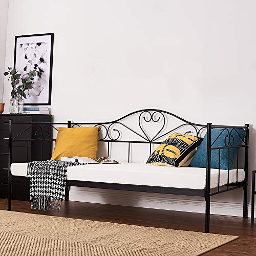 2 Styles Metal Bed Frame Day Bed 3ft Single Sofa Guest Bed Black/White New (Style2 Daybed, Black)