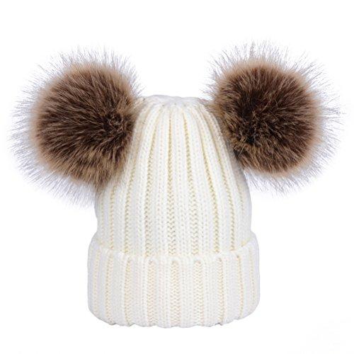 YeahiBaby Mütze für Babys, für den Winter, warm, mit Bommeln, geeignet für Kinder von 0bis 6Jahren 29-57cm weiß
