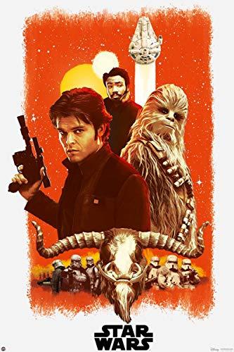 Star Wars Póster Solo Story - Afiche Promocional (61cm x 91,5cm) + 2 Marcos Negros para póster con suspención
