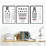 xiongda Modern Eye Test Chart Beste Augen Test Angebote Poster und Drucke Kunst Gemälde Wandbilder für Wohnzimmer Home Decor-50X70cm3pcsNo Frame