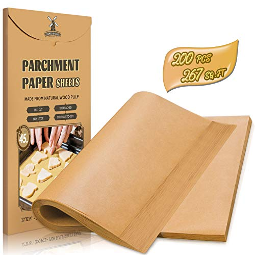 Hiware 200-Piece Parchment Paper Baking Sheets 12 x 16 Inch, Precut Non-Stick Parchment Sheets for Baking, Cooking, Grilling, Air Fryer and Steaming - Unbleached, Fit for Half Sheet Pans