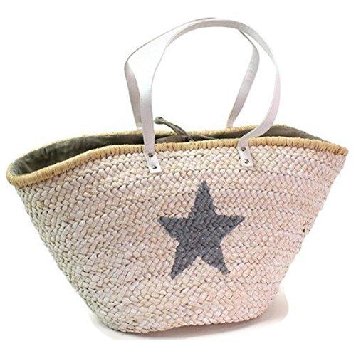 Korbtasche weiß mit grauem Stern Ibiza Style & Blumen Fibel