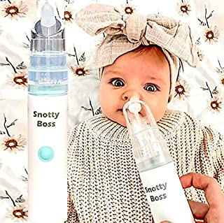 Snotty Boss - Nasal Aspirator – Premium Kit incl Saline Spray Bottle/Nozzles/Travel Bag. Battery powered, strong snot suct...