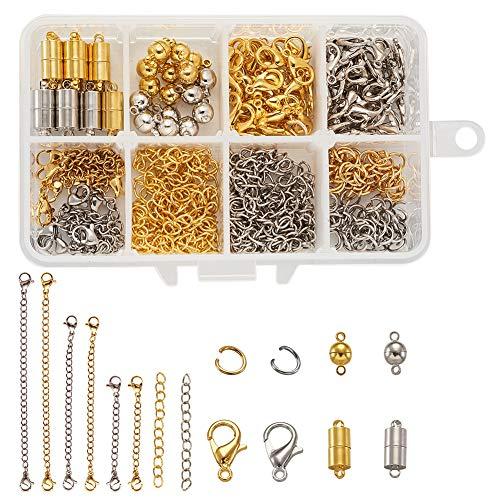 PandaHall 286 stks Sieraden Maken Supplies Kit met Magnetische Sluitingen, Open Springen Ringen, Kreeft Klauw Sluitingen, Ketting Extender Kettingen en End Chain