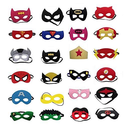 ZARRS Superhelden-masker, 24 stuks voor kinderen, superhelden, viltmasker, met elastisch touw, voor feestzakken