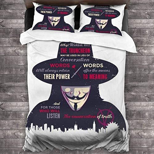 POMJK V for Vendetta - Juego de ropa de cama de microfibra para niños, juego de 3 piezas, 2 fundas de almohada (A02, doble 200 x 200 cm + (50 x 75 cm)