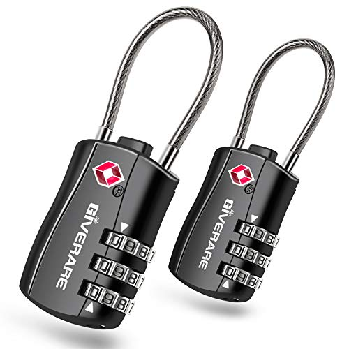 GIVERARE 2 PCS TSA Approved Luggage Locks, Combination Travel Cable Lock, Re-settable 3-Digit Padlocks with Alloy Body, Keyless Travel Sentry Accepted Padlock for Gym Locker, Golf Bag Case-Black
