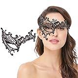 Masquerade Mask for Women Venetian Shiny Rhinestone FiligreeLaser CutMetalEye MaskDiamond Party Prom Ball Bar MaskFor Carnival Halloween Costume Cosplay Mardi Gras (Phantom Black)