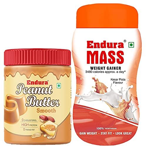 Endura Mass Weight Gainer Kesar Pista Flavour with 100% All Natural Peanut Butter Smooth (500g+400g)