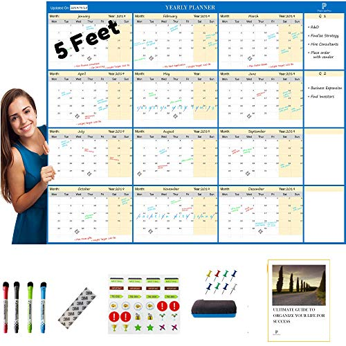 """PLANNERPRO Large Dry-Erase White Calendar - Laminated, 60""""x45"""" - Reusable Huge Wall Calendars and Planner with Markers, Eraser - Don't Forget Another Important Event Again"""