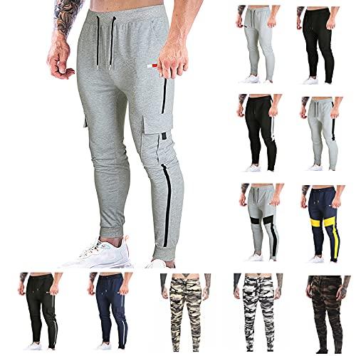 BGUK Pantalones de chándal para hombre, de mezcla de algodón, cómodos, con cordón, para el tiempo libre, gris, M