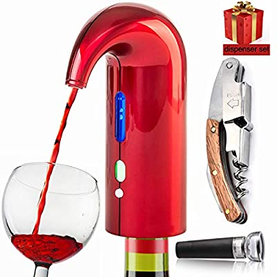 Electric Wine Aerator Pourer, Wine Bottle Opener Best Sellers With Wine Accessories 2020 Premium Wine Decanter Spout Perfect for Wine Lovers, Gift Idea, No leaking, wine preserver - Red