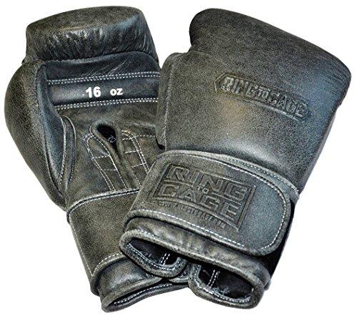 Japanese-Style Training Boxing Gloves 2.0 - Hook&Loop or Lace Up - 12oz, 14oz, 16oz, 18oz - 9 Colors to Choose (Cracked Black, 16oz Hook&Loop)