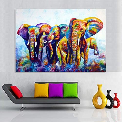 ganlanshu Pintura sin Marco Arte de Pared de Lienzo Colorido Abstracto bebé Elefante Animal Sala de Estar decoración Pintura cartelZGQ4506 80X120cm