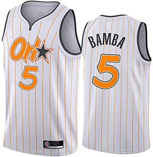 ZMIN Jerseys de Baloncesto de los Hombres, Orlando Magic # 5 Bamba Verano Uniformes de Baloncesto Casual Sueltos Camisetas Chalecos Transpirables,Blanco,S 165~170cm