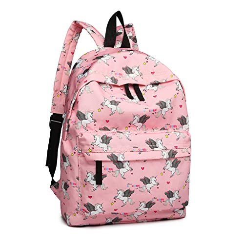 Kono Children's Backpacks Unicorn School Bag Canvas Rucksack for Girls and Boys Fashion Printed Bookbag for Students Teenagers Casual Daypack (Pink)