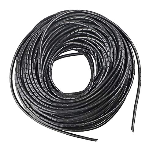 4mm Spiral Cable Wrap Spiral Wire Wrap CordWrapping (Range:1.5mm-10mm) for Computer Electrical Wire Organizer Sleeve Hose RoHS Black (Dia 4MM Length 20M)