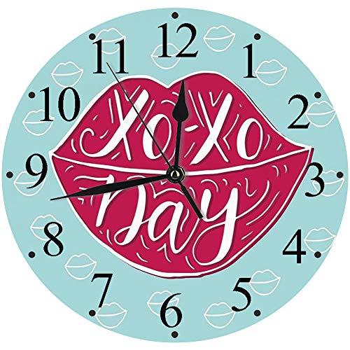 Yaoni Silencioso Wall Clock Decoración de hogar de Reloj de Redondo,XO, Mujer Sexy Labios de Color Rosa Completo con Abrazos y Besos Frase del día Moda Estampa,para Hogar, Sala de Estar, el Aula