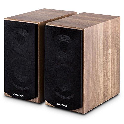 auna - Linie 501 BS-WN, Regallautsprecher, Lautsprecher-Boxen, HiFi-Boxen, Lautsprecher-Paar, 2-Wege-System, 10cm (4
