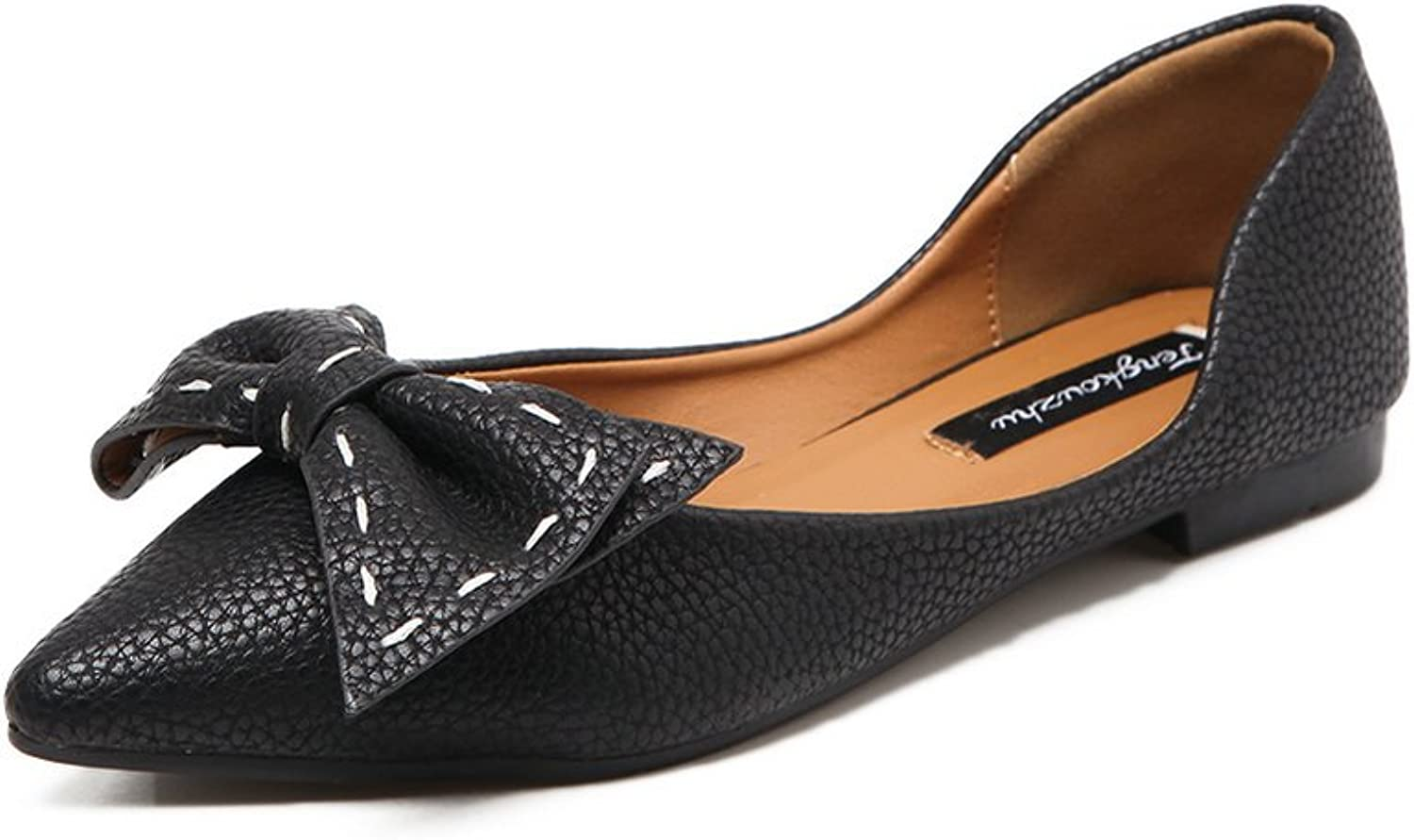 Ladola Womens Bows Low-Cut Uppers Pointed-Toe Urethane Flats shoes