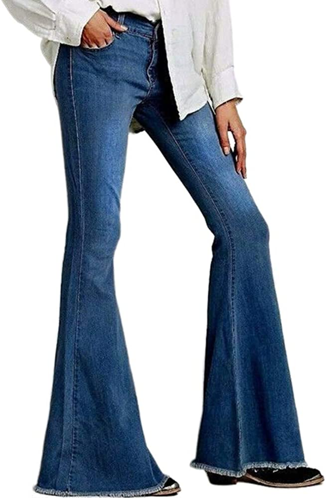 Kabxryaclo Womens Bell Bottom Jeans Solid Low Rise Waisted Fringe Classic Stretch Denim Flared Pants