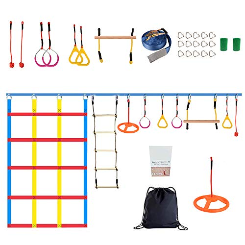 Ninja Warrior Slackline Set 15m,Ninja Warrior Hindernisparcours,50FT Slackline Kit Ninja Ringe Kletterseil Leiter Kletterfrachtnetz Ninja Warrior Trainingsausrüstung für Erwachsene und Kinder
