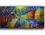 YaSheng Art -Landscape Tree Oil Painting On Canvas Textured colorful night scene Abstract Contemporary Art Wall Paintings Handmade Palette Knife painting Home Office Canvas Wall Art painting 24x48inch