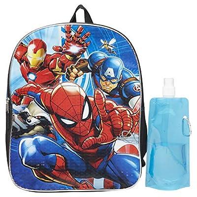 Marvel Spiderman Backpack Combo Set - Spiderman Boys 3 Piece Backpack Set - Backpack, Water Bottle and Carabina (Marvel Spiderman)
