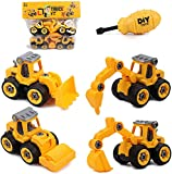 Tacobear 4 Pezzi Camion Giocattoli Veicoli da Cantiere Montare e Smontare Camion Costruzioni Trattore Escavatore Macchinine Giocattolo Regalo per Bambini Bambina 3 4 5 Anni (Giallo)