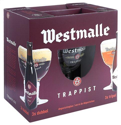 Geschenk-Set WESTMALLE. 6 x 33 cl, plus 1 WESTMALLE Glas. Weihnachts-Geschenk aus Belgien.