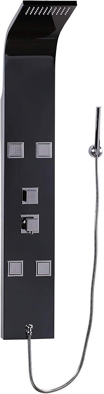Dastro Design Edelstahl Duschpaneel Regendusche Wasserfall mit Massage-Düsen     Hochwertige Duscharmatur Duschsule Handbrause Mischbatterie     Brausegarnitur Set Dusche Bad (140cm   114 Düsen schwarz)
