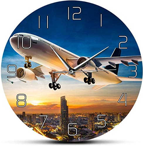 BINGTANGXUELI Co.,ltd Wanduhr Start Sunset Airplane Aviator Home Decor Wanduhr Air Jet Flugzeug Flying Over City Skyline Aircraft Moderne Silent Wall Clock