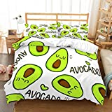 PATATINO MIO Avocado Duvet Cover Sets Full 3D Microfiber Cartoom Emoji Faces Avocado Bedspread Printed 3 Pieces(1 Duvet Cover 2 Pillowcase) Bedding Set for Kids Boys Girls Green/White