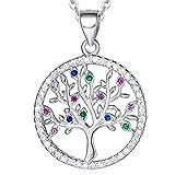 AGVANA Collar con colgante de árbol de la vida, plata de ley 925 con circonita cúbica, colgante de árbol para mujeres y niñas, con caja de regalo, 40,6 cm + 5,08 cm extensor