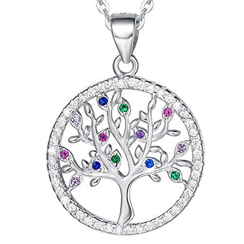 AGVANA Bunt Baum des Lebens Halskette für Damen silber 925 Runde Pendant Kette für Mädchen Lebensbaum Anhänger Dimension: 2 * 2.5 cm