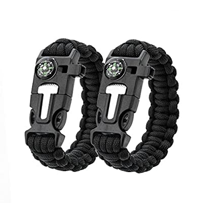 2 Pack Multifunctional 5in1 Paracord Bracelet, Ultimate Outdoor Survival Kits With Compass Flint Fire Starter Scraper Whistle Fishing Gear Flint for Hiking Camping Emergency