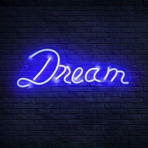 Koicaxy Neon-Schild, LED-Neonlicht, Wanddekoration, batterie- oder USB-betrieben, beleuchtetes Acryl-Neonschild für Schlafzimmer, Kinderzimmer, Wohnzimmer, Bar, Party, Weihnachten, Hochzeit (Dream 2)