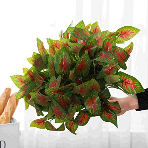 LACKINGONE 6 Pack Artificial Caladium Bulbs Plants Fake Leaves Small Elephant Ear Bulbs Fake Plants Fancy Leaf for Grass Wall Backdrop Home Garden Backyard Office Hanging Baskets Wedding Indoor