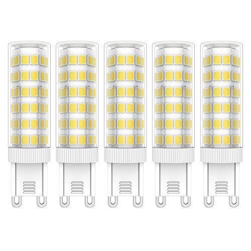 5X G9 LED Bombillas 7W LED Lámpara 76 SMD 2835LEDs Bombilla Lámpara Blanco Frío 6000K Super Brillante 650LM LED Lamps AC220V-240V