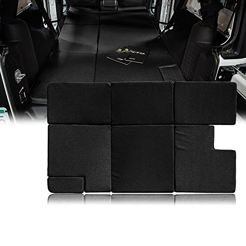 Xprite Black Sleeping Mattress Portable Camping Pad Bed Platform, NitePad Sand Premium 1.5-inch Thick Trunk Cushion for 2007-2018 Jeep Wrangler JKU