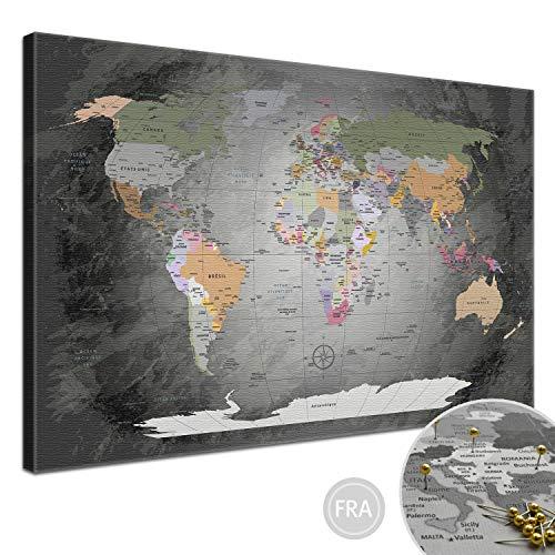 """LANA KK - Weltkarte Leinwandbild mit Korkrückwand zum pinnen der Reiseziele – """"Worldmap Edelgrau"""" - französisch - Kunstdruck-Pinnwand Globus in grau, in 100x70cm"""