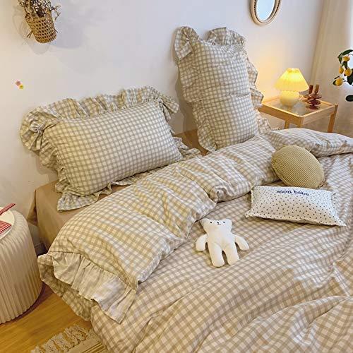 N / D Pure Cotton Lotus Leaf Edge Cotton Four-piece Set Dormitory Bed Linen Bedding 1.5m Camel